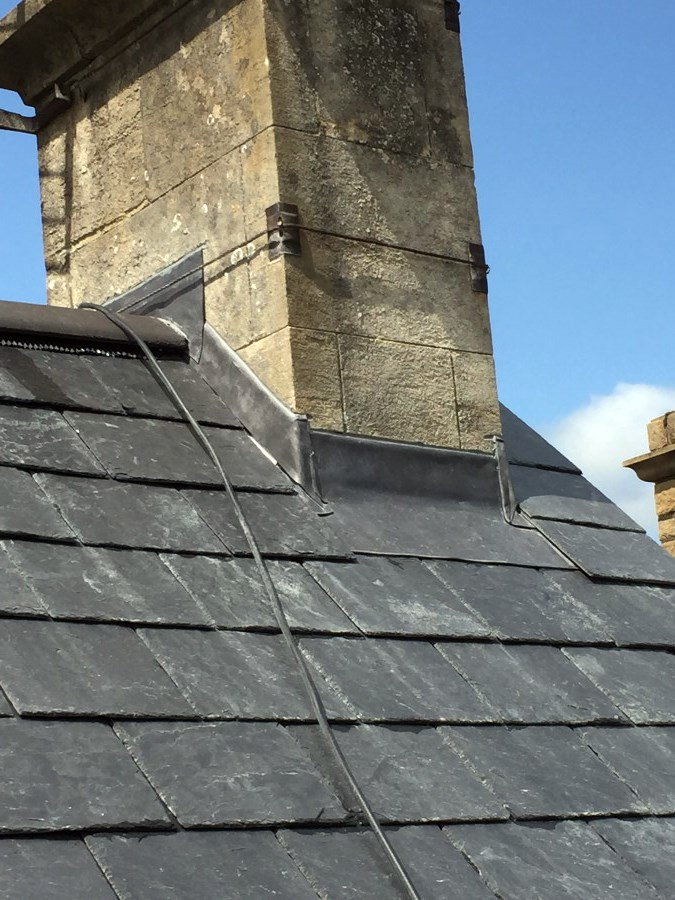 New Slate roof and lead work to chimney